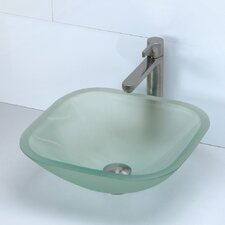 Transparent Square 19mm Glass Vessel Bathroom Sink
