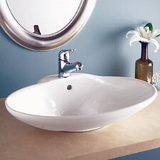 Classically Redefined Oval Ceramic Vessel Sink with Overflow