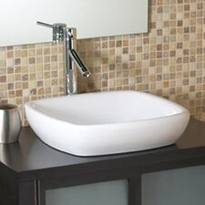 <strong>DecoLav</strong> Classically Redefined Square Semi-Recessed Ceramic Vessel Bathroom Sink