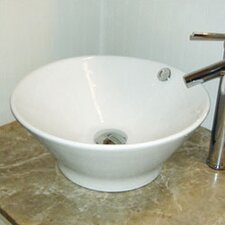 <strong>DecoLav</strong> Classically Redefined Round Ceramic Vessel Bathroom Sink with Overflow