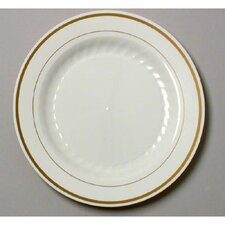 "Masterpiece 10.25"" Plastic Plate in Ivory with Gold Accents"