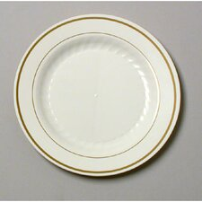 "Masterpiece 7.5"" Plastic Plate in Ivory with Gold Accents"