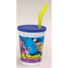 Plastic Kids' Cup with Lids and Whistle Straws