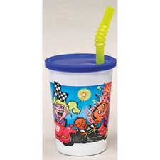 Plastic Kids' Cup with Lids and Straws