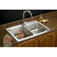 "Lustertone 33"" x 22"" Self Rimming Double Bowl Kitchen Sink"