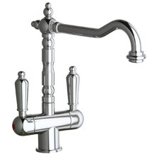 Victoria Double Handle Single Hole ADA Compliant Kitchen Faucet with Soap Dispenser and Optional Butler Cleaner