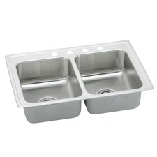 "<strong>Elkay</strong> Lustertone 29"" x 22"" Gourmet Double Kitchen Sink"