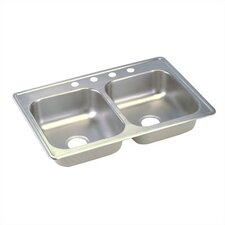 "Dayton 33"" x 21.25"" Top Mount Double Kitchen Sink"