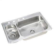 "Dayton 33"" x 22"" Elite 3 Hole Double Bowl Kitchen Sink"
