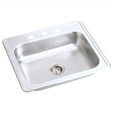 "Kingsford 25"" x 22"" Top Mount Single Bowl Kitchen Sink"