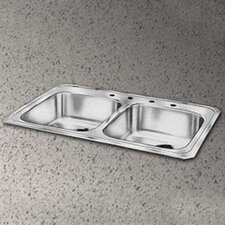 "Celebrity 33"" x 21.25"" Self Rimming 3-Hole Double Bowl Kitchen Sink"