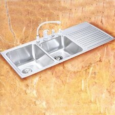 "Gourmet 43"" x 22"" x 10"" 3-Hole Self Rimming Double Bowl Kitchen Sink with Left Handed"