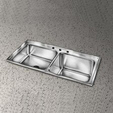 "Lusterstone 43"" x 22"" Double Bowl Kitchen Sink"