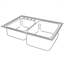 "Elumina 33"" x 22"" Extra Deep Self-Rimming Double Kitchen Sink"