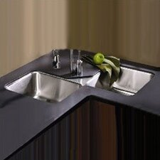 "Lustertone 32"" x 32"" Undermount Double Bowl Corner Kitchen Sink"