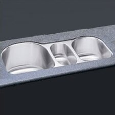 "<strong>Elkay</strong> 39.5"" x 20"" Undermount Triple Bowl Kitchen Sink"