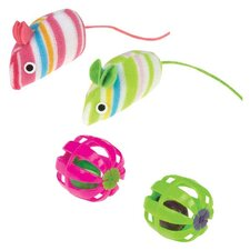 Stripe Mice and Jingle Ball  Cat Toy (4 Pack)