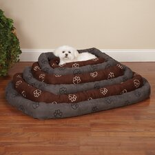 Embroidered Paw Print Crate Dog Bed