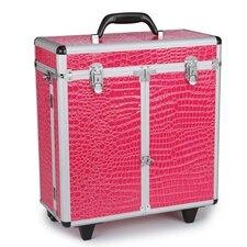 Faux Croc Grooming Tool Case with Wheels in Hot Pink