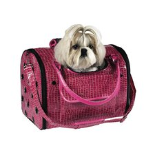 Small Croco Dog Carrier in Pink