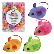 Tie-Dye Mice Canister Cat Toy (40 Pieces)