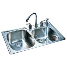 "33"" x 22"" Offset Double Bowl Kitchen Sink"