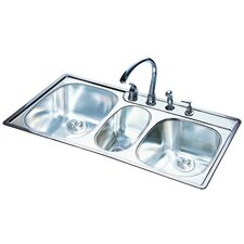 "43"" x 22""  20 Gauge Triple Bowl Kitchen Sink"