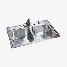 "33"" x 22"" 4 Hole Double Bowl Kitchen Sink"