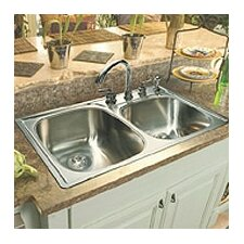 "33"" x 22""  Double Bowl 4 Hole Kitchen Sink"