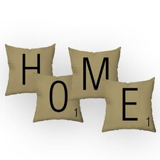 Letters of Home Throw Pillow Set (Set of 4)