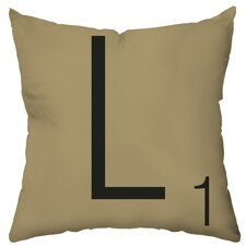 Personalized Letter Tile Poly Cotton Throw Pillow