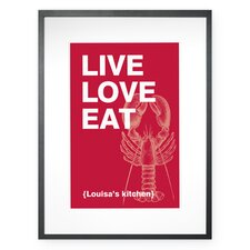Personalized Live, Love, Eat Framed Graphic Art