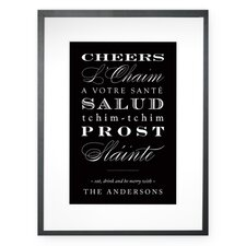 Personalized Cheers in any Language Framed Textual Art