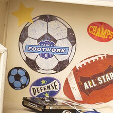 Sports Stamps Peel and Stick Vinyl Wall Decals (Set of 4)