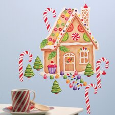<strong>Wallies</strong> Gingerbread House Vinyl Holiday Wall Mural