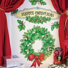 Merry Christmas Vinyl Holiday Wall Mural (Set of 2)