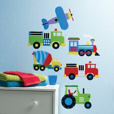<strong>Wallies</strong> Kids Trains, Planes and Trucks Wall Mural