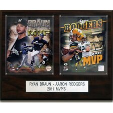<strong>C & I Collectibles</strong> Ryan Braun and Aaron Rodgers 2011 MVP Player Plaque