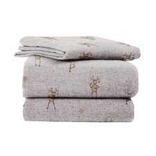 Heather Ground  Flannel Reindeer Cotton Sheet Set