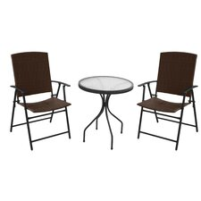 Patio Wicker 3 Piece Bistro Set
