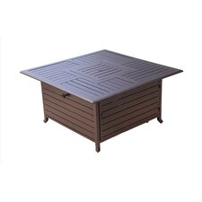 Square Slatted Aluminum Fire Pit