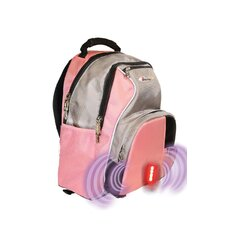 Built-in Alarm School Backpack in Pink & Grey