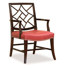 Lattice Carved Occasional Leather Arm Chair