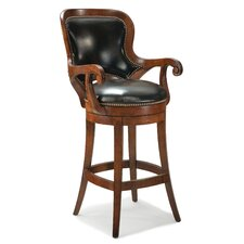 Shaped Back Leather Swivel Bar Stool