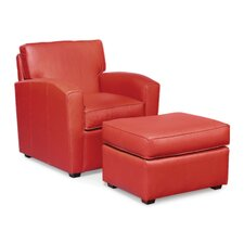 <strong>Fairfield Chair</strong> Grain Leather Lounge Chair and Ottoman