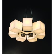 Q Seven Light Large Round Chandelier in Brushed Nickel