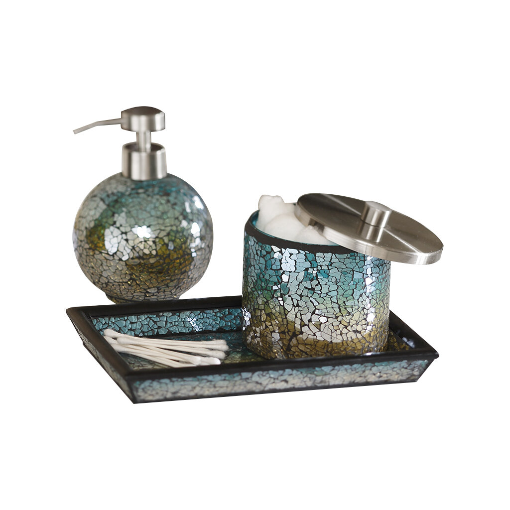 Unique bathroom accessory sets for Blue crackle glass bathroom accessories