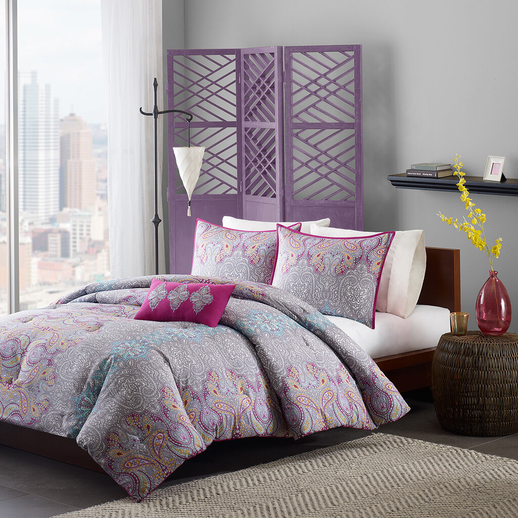 Mi zone keisha comforter set purple paisley print bedding