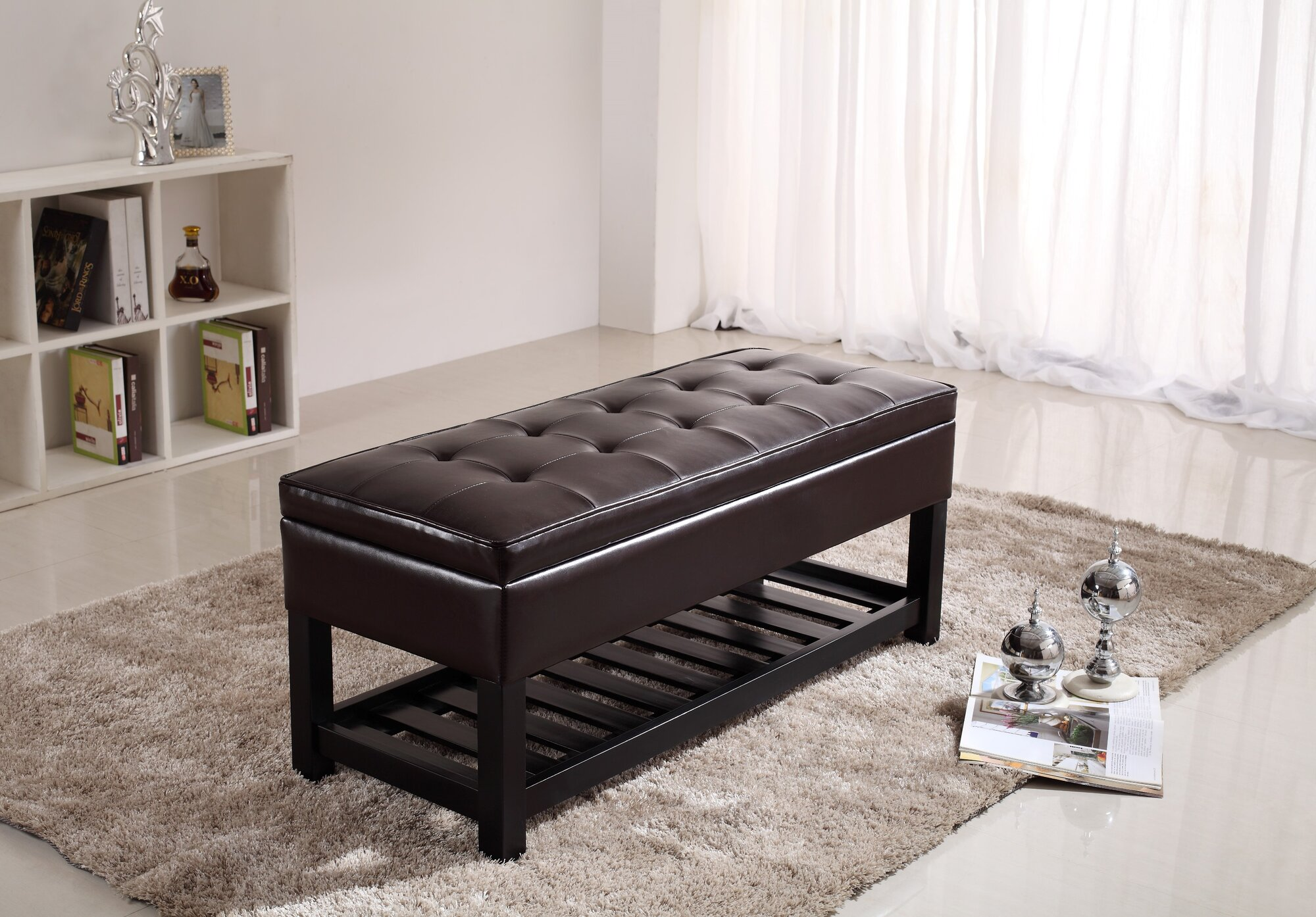 Simpli Home Faux Leather Storage Ottoman Bench