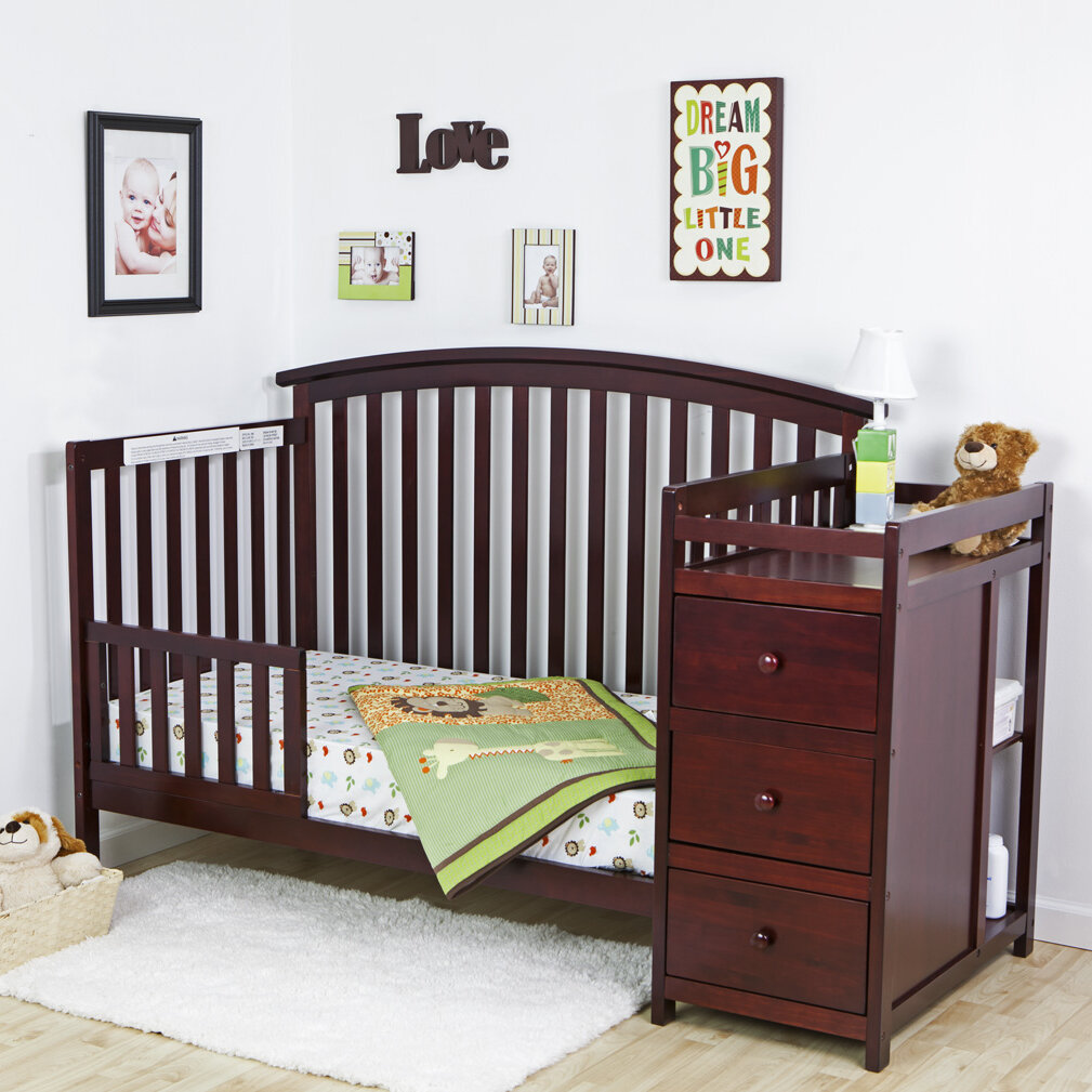 5 Cool Cribs That Convert To Full Beds: 5 In 1 Side Convertible Crib Changer Nursery Furniture